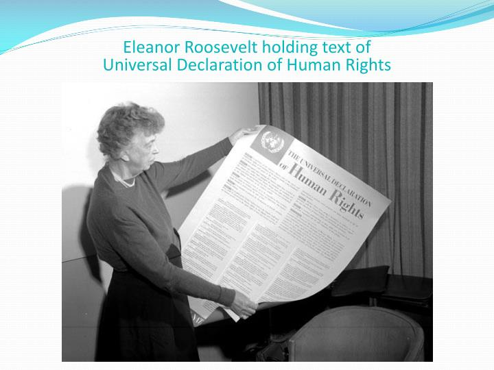 Eleanor Roosevelt holding text of