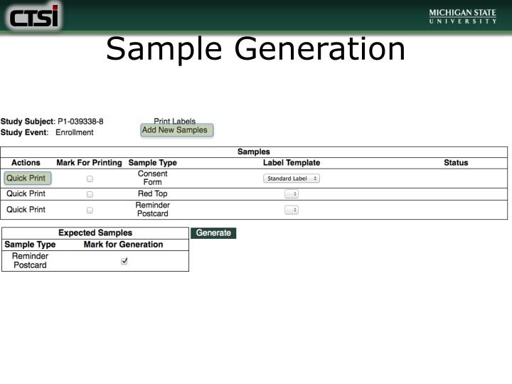 Sample Generation