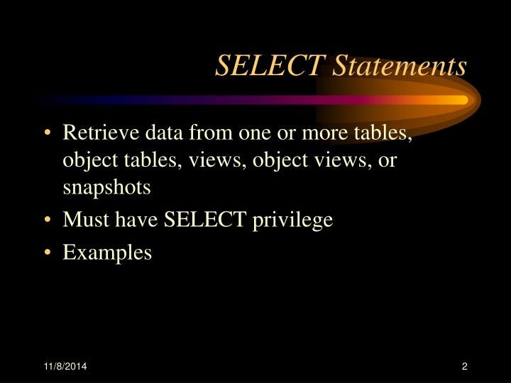 Select statements1