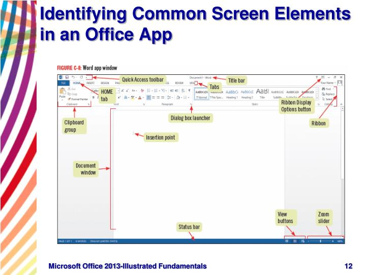 Identifying Common Screen Elements in an Office App