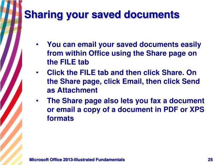 Sharing your saved documents
