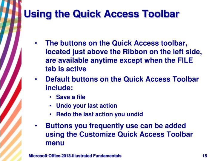 Using the Quick Access Toolbar