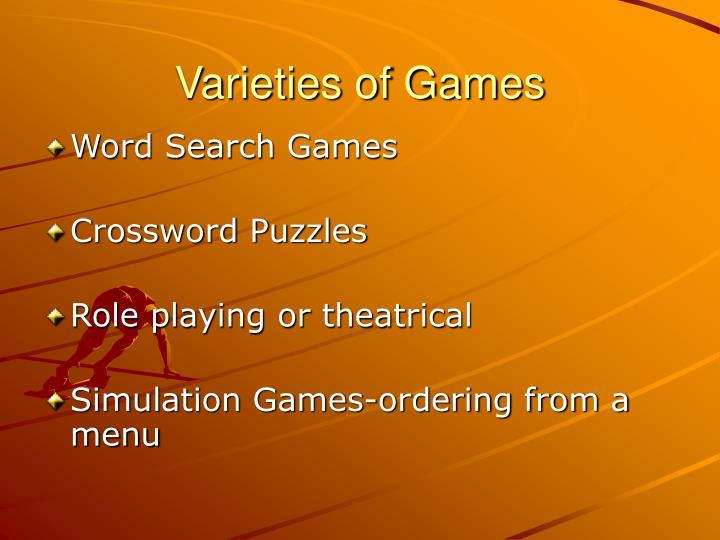 Varieties of Games