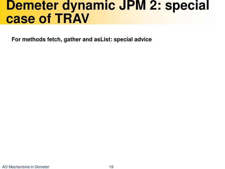 Demeter dynamic JPM 2: special case of TRAV