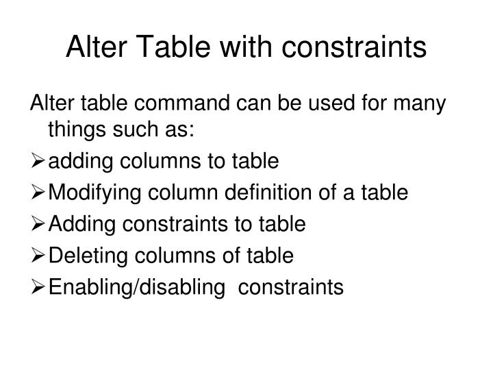 Alter Table with constraints