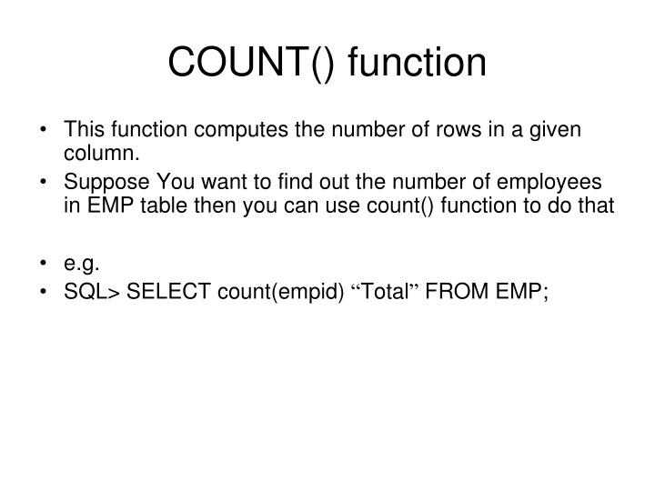 COUNT() function