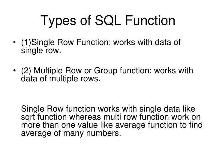 Types of SQL Function