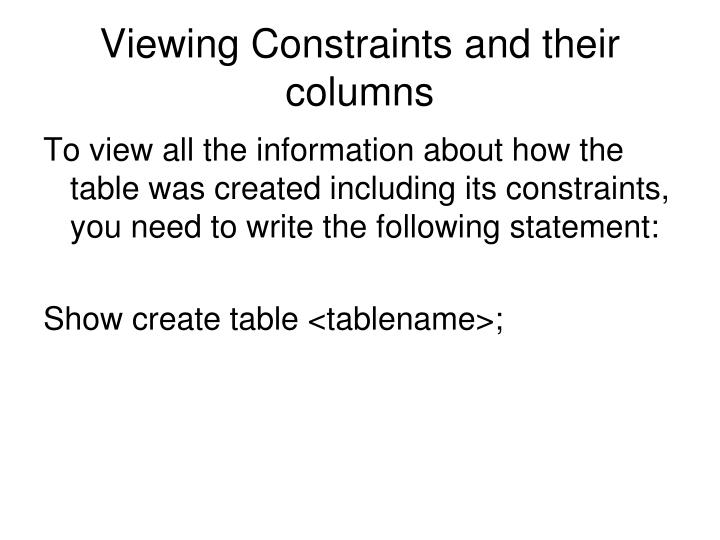 Viewing Constraints and their columns