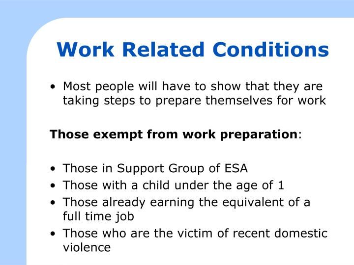 Work Related Conditions
