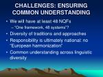 challenges ensuring common understanding