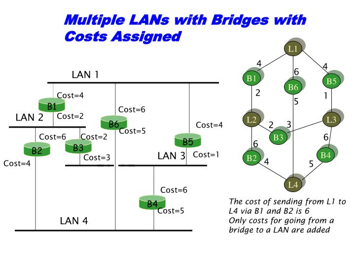 Multiple LANs with Bridges with Costs Assigned