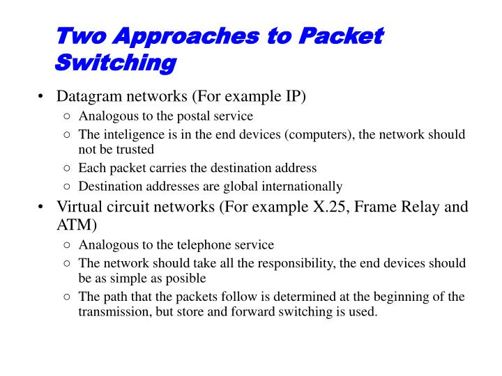 Two Approaches to Packet Switching