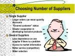 choosing number of suppliers