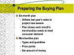 preparing the buying plan