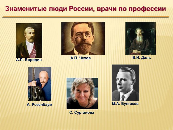 Знаменитые люди России, врачи по профессии