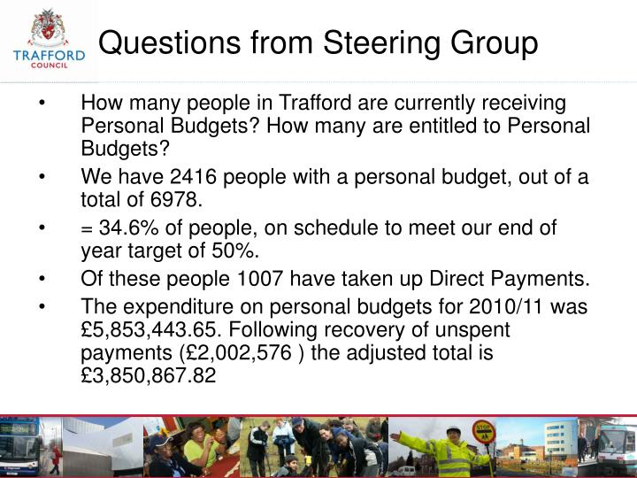 How many people in Trafford are currently receiving Personal Budgets? How many are entitled to Personal Budgets?