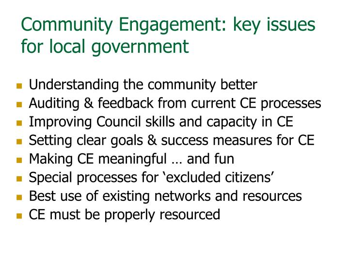 Community Engagement: key issues