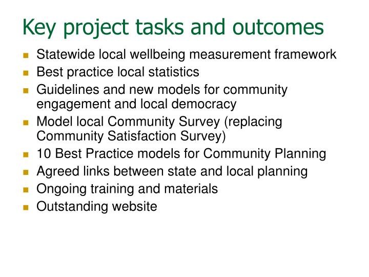 Key project tasks and outcomes