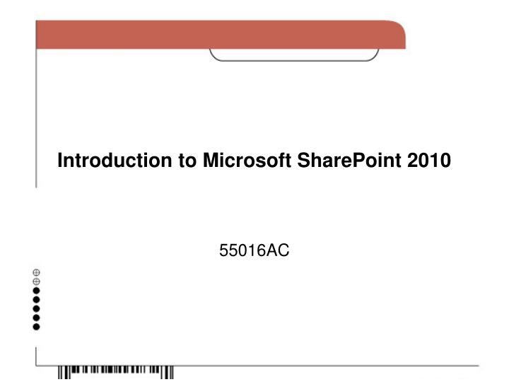 introduction to microsoft sharepoint 2010 n.