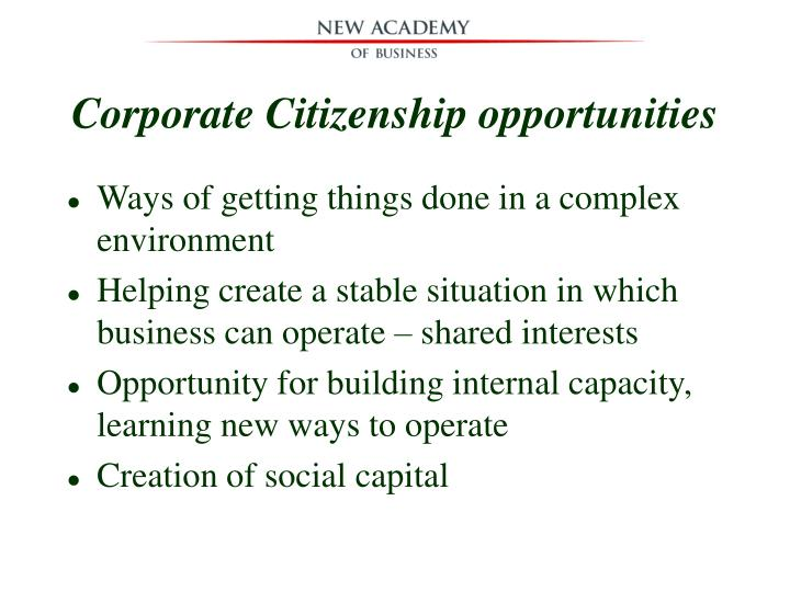 Corporate Citizenship opportunities