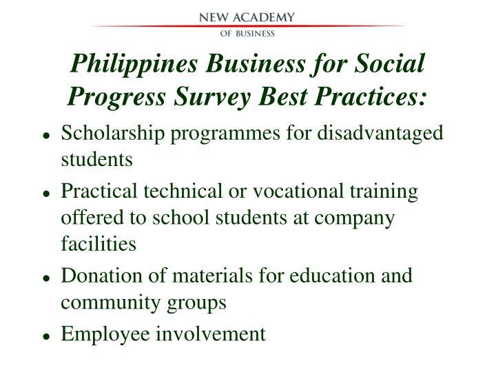 Philippines Business for Social Progress Survey Best Practices: