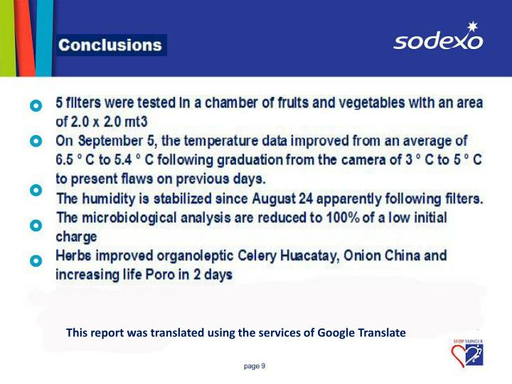 This report was translated using the services of Google Translate