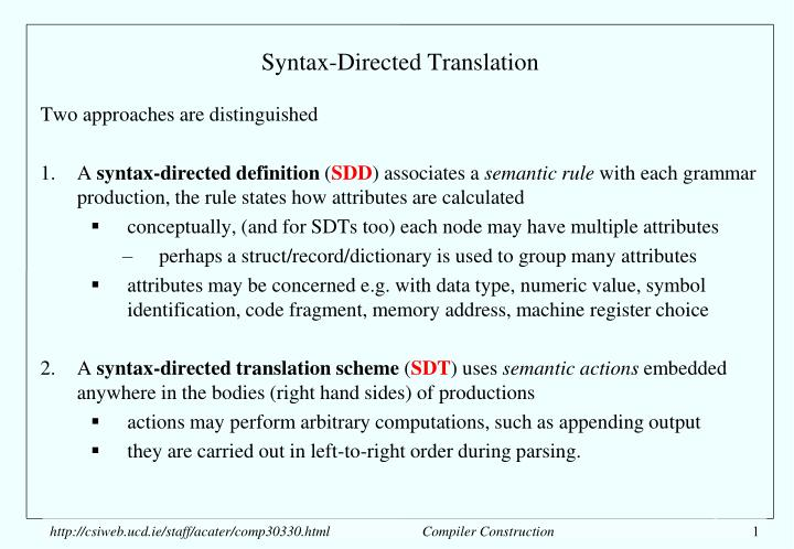 syntax directed translation n.