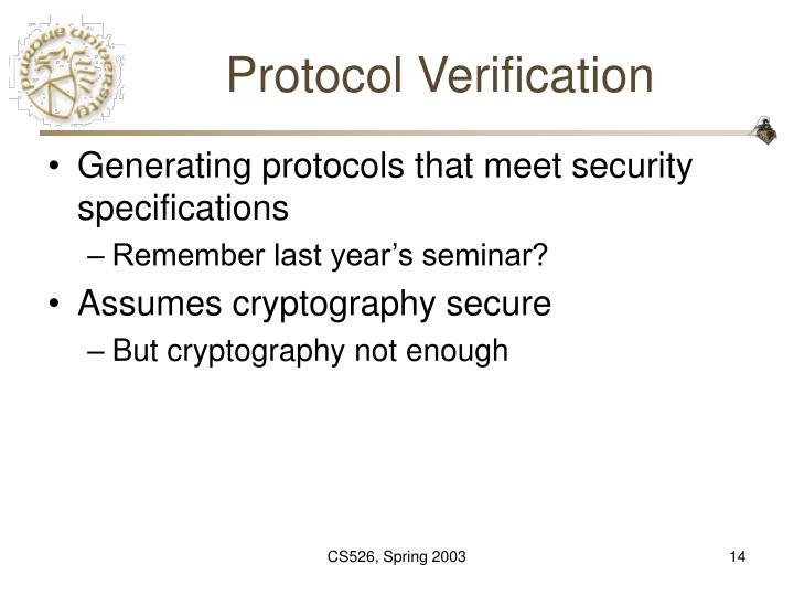 Protocol Verification