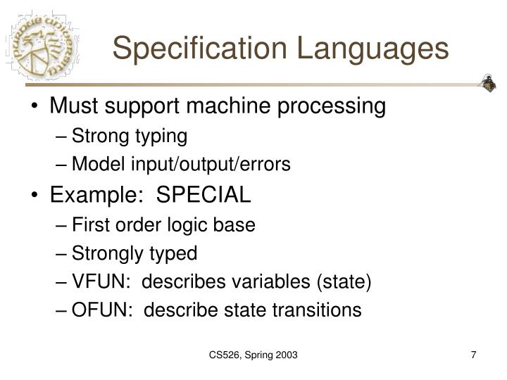 Specification Languages