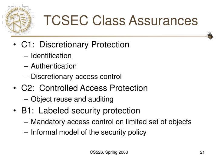 TCSEC Class Assurances