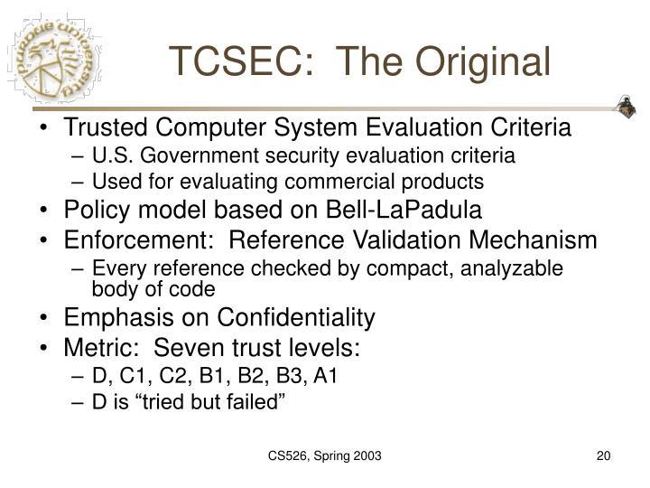 TCSEC:  The Original