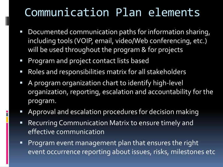 Communication Plan elements