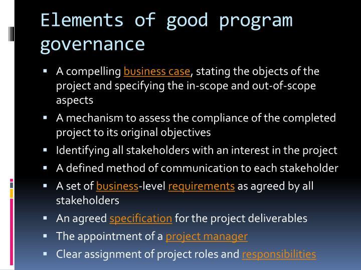 Elements of good program governance
