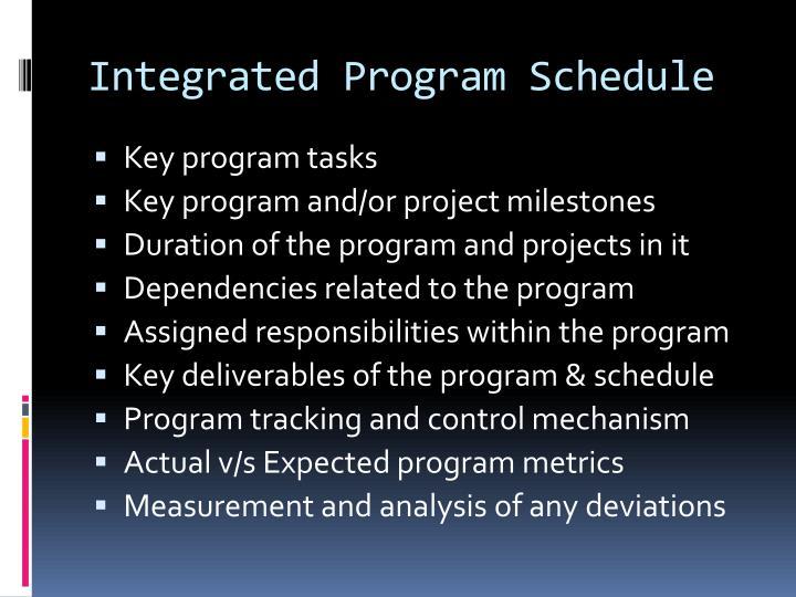 Integrated Program Schedule