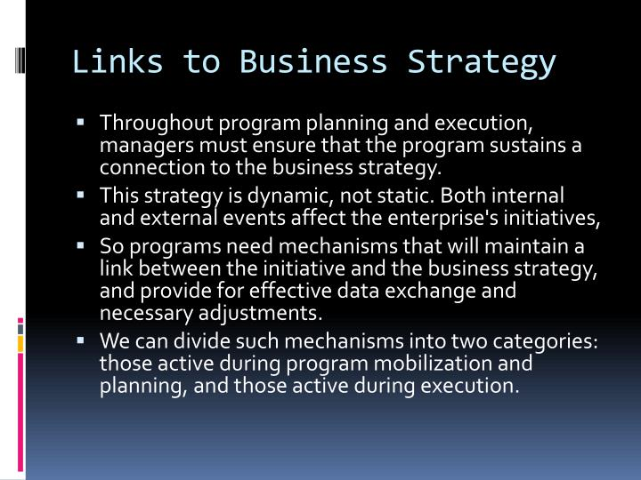 Links to Business Strategy
