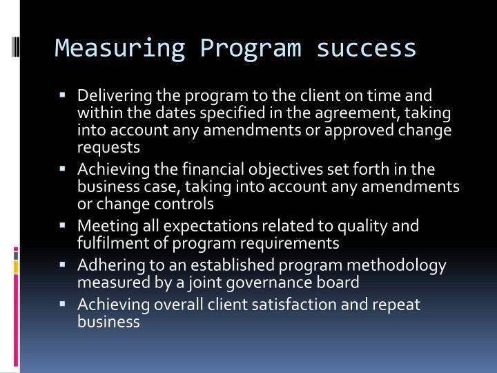 Measuring Program success