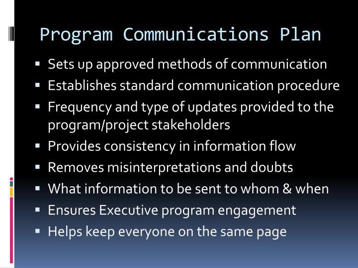 Program Communications Plan