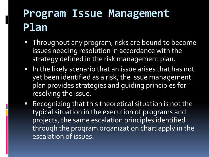 Program Issue Management Plan