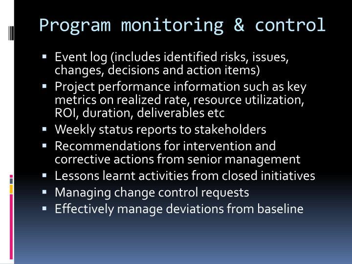Program monitoring & control