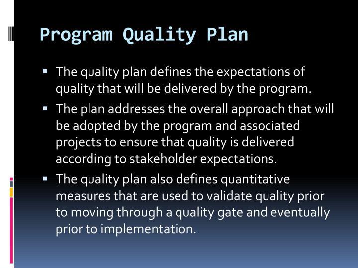 Program Quality Plan