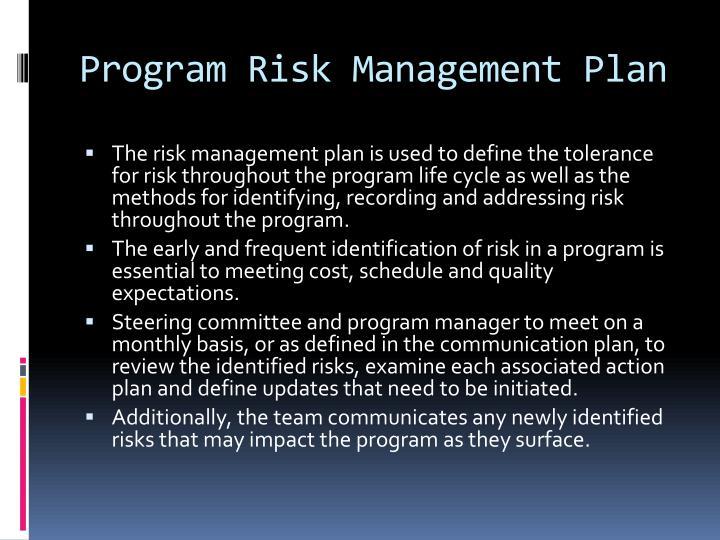 Program Risk Management Plan
