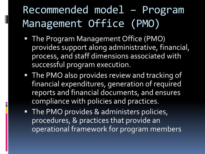 Recommended model – Program Management Office (PMO)