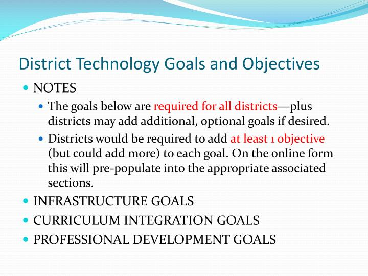District Technology Goals and