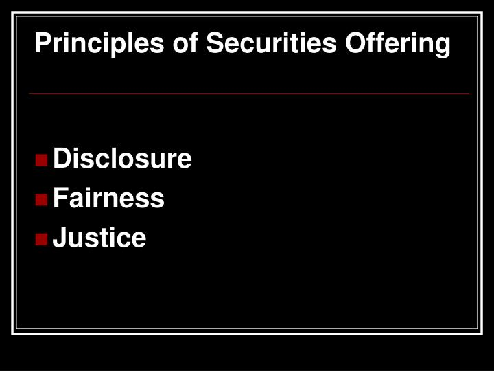 Principles of Securities Offering