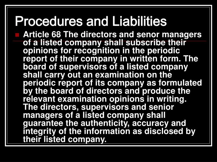 Procedures and Liabilities