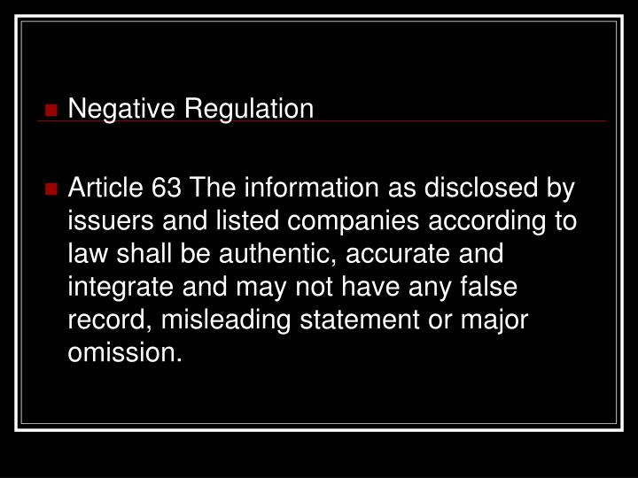 Negative Regulation
