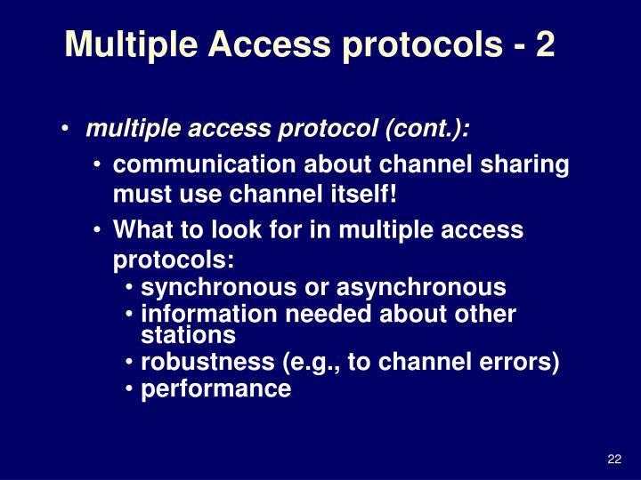 Multiple Access protocols - 2