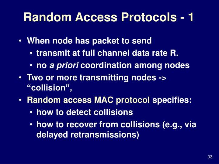 Random Access Protocols - 1