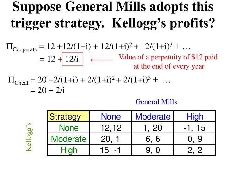 Suppose General Mills adopts this trigger strategy.  Kellogg's profits?