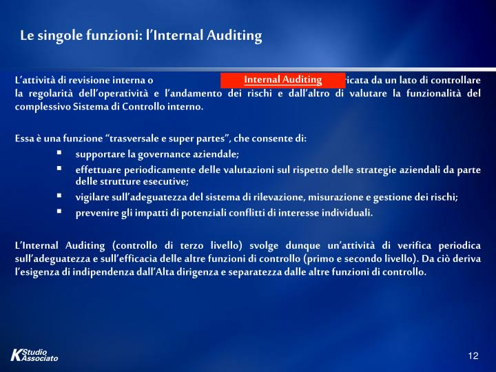 Le singole funzioni: l'Internal Auditing